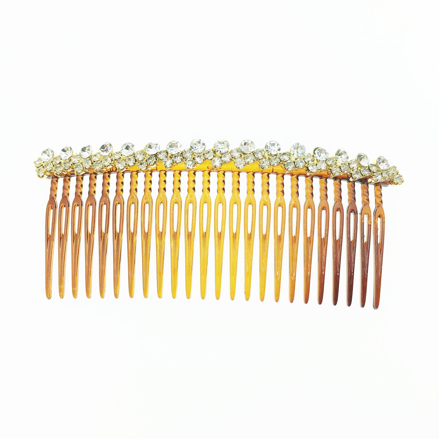 韓國 水鑽 茶色 髮插 排插 排梳盤髮 髮飾