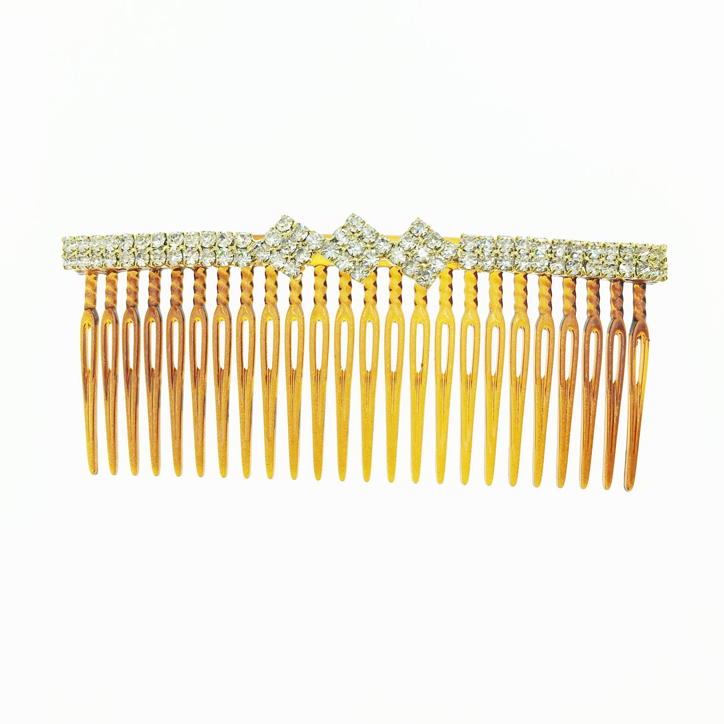 韓國 水鑽 菱形 茶色 髮插 排插 排梳盤髮 髮飾