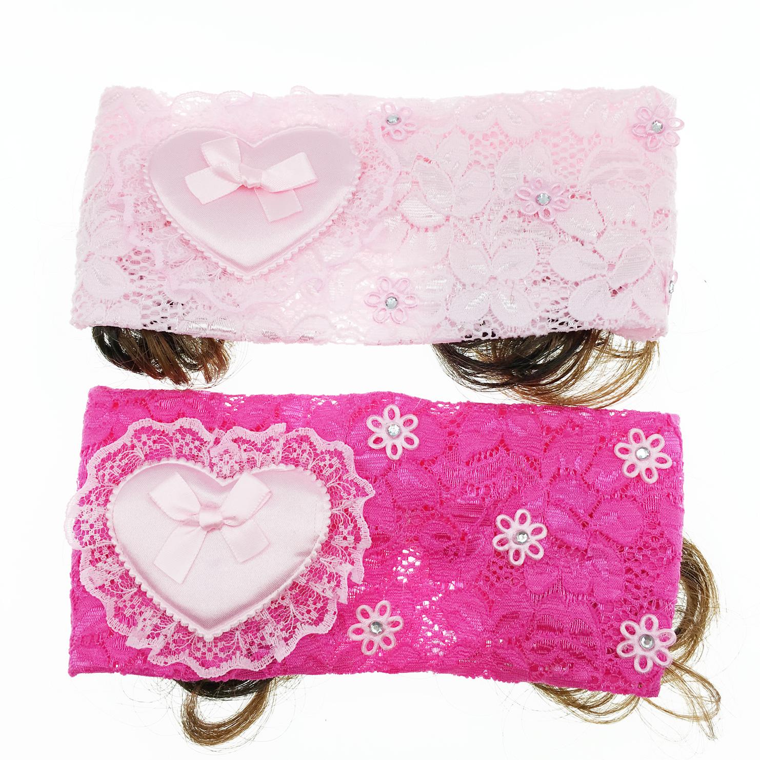 韓國 假髮 愛心 蝴蝶結 蕾絲 水鑽 2色 兒童髮飾 幼童髮帶