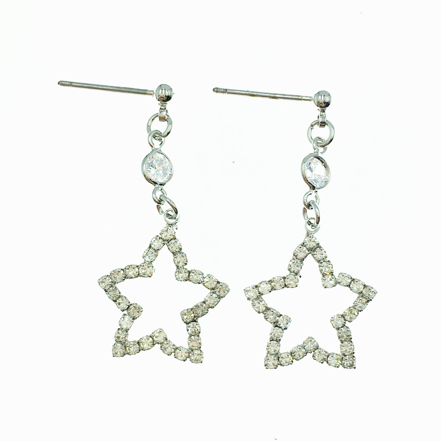韓國 簍空星星 水鑽 百搭款 垂墜感 耳針式耳環