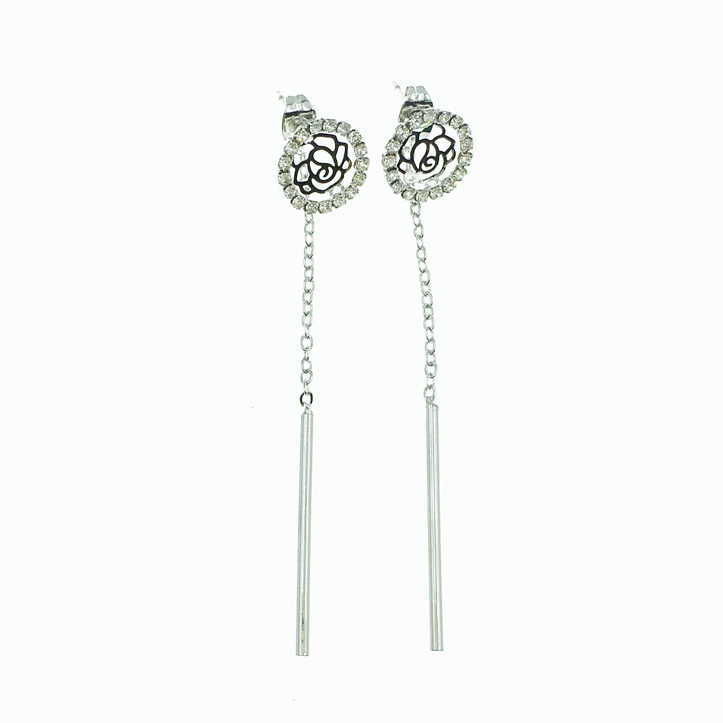 韓國 簍空玫瑰花 水鑽 華麗款 垂墜感 耳針式耳環