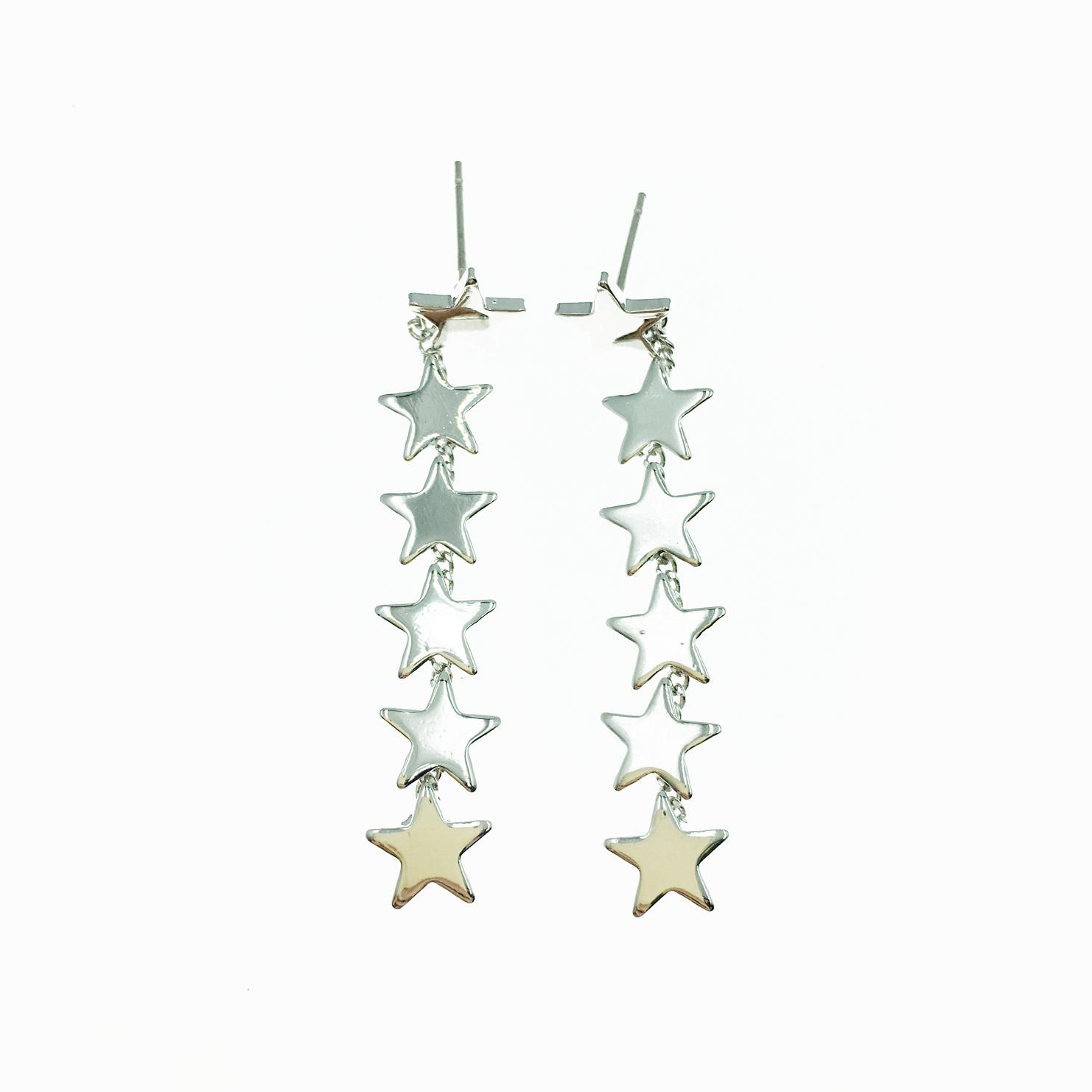 韓國 星星 歐美金屬風 簡約 銀色 垂墜感 耳針式耳環
