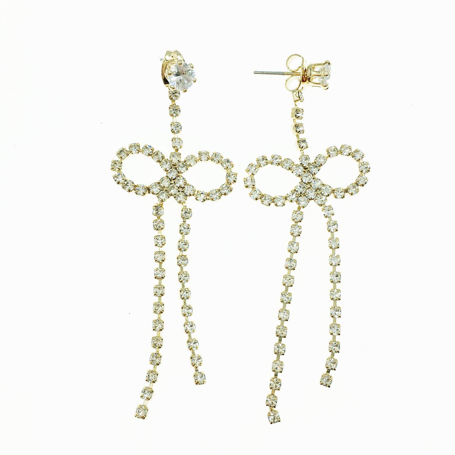 韓國 簍空蝴蝶結 金 水鑽 甜美可愛款 垂墜感 耳針式耳環