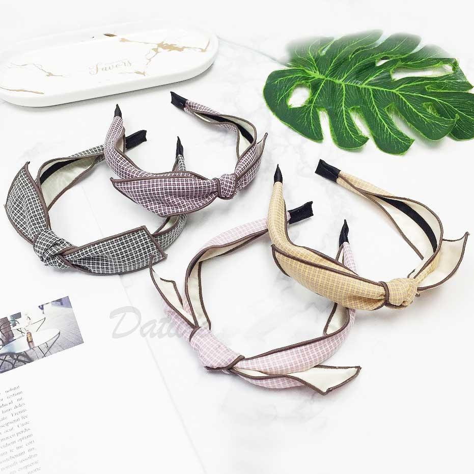韓國 蝴蝶結造型 千鳥格紋 4色 髮箍 頭箍