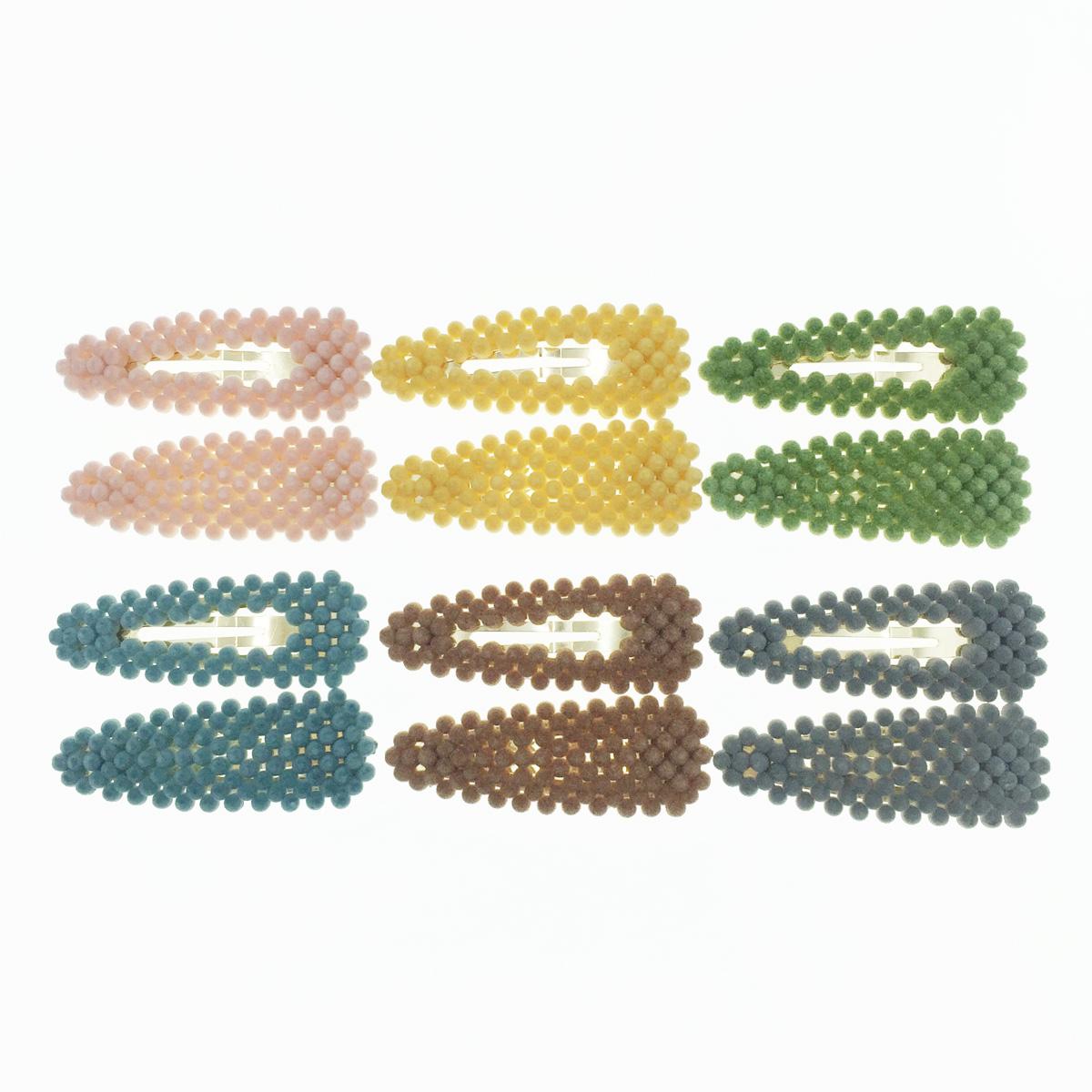 韓國 簍空 小圓絨球 毛毛球 兩入組 多色 基本百搭款 髮飾 彈力夾 髮夾