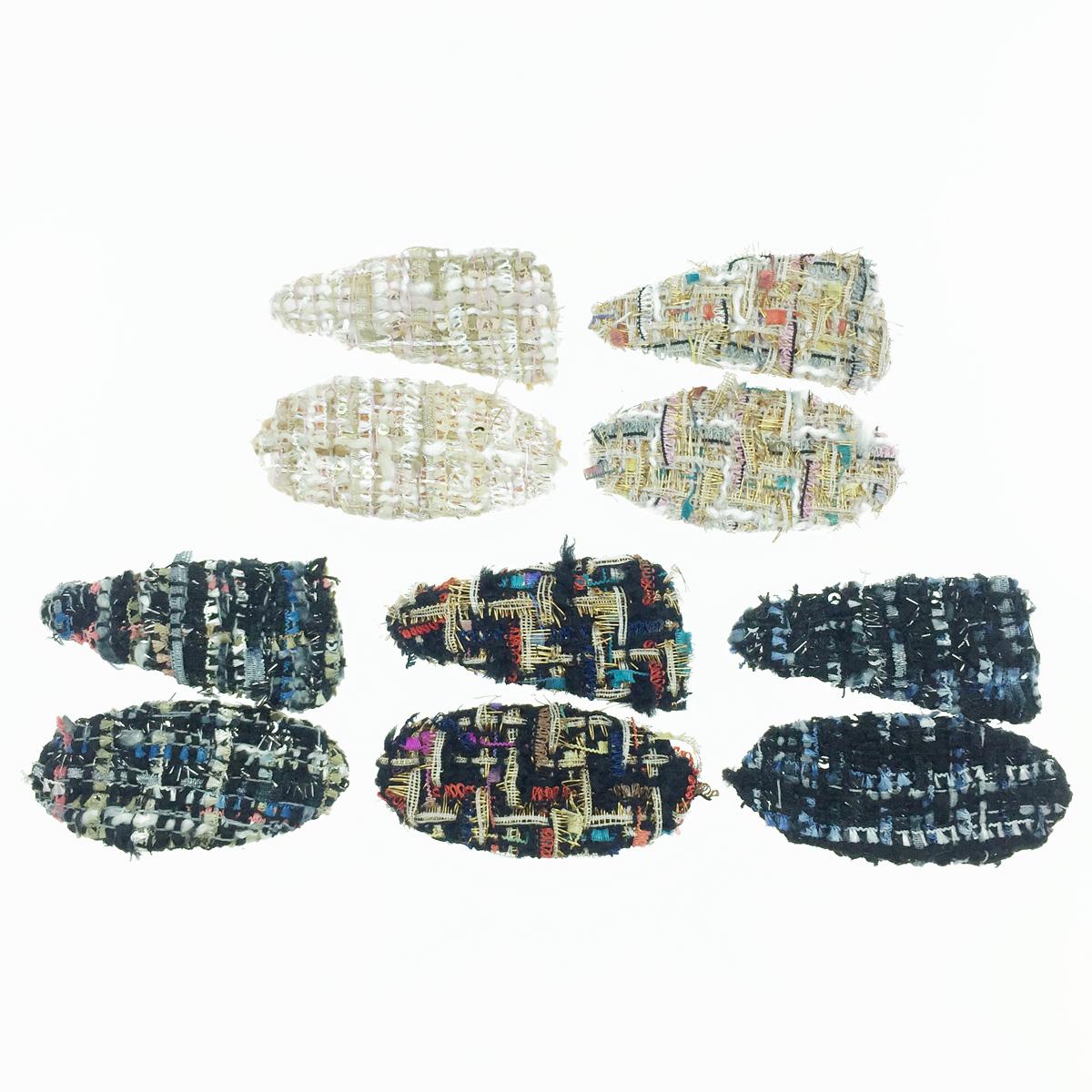 韓國 編織造型 毛線 繽紛配色 兩入組 髮飾 彈力夾 髮夾