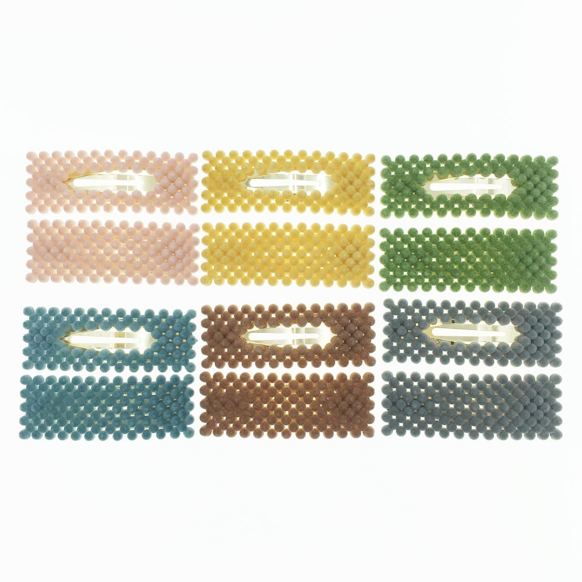 韓國 長方形 小圓絨球 毛毛球 兩入組 多色 基本款 百搭 髮飾 彈力夾 髮夾