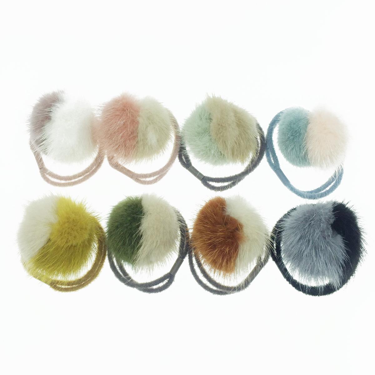 韓國 撞色 絨毛 可愛毛球 多色 髮飾 髮圈 髮束