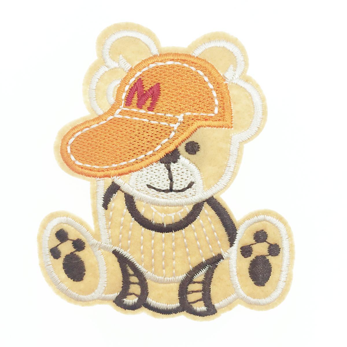 韓國 刺繡 燙布貼 熊熊 帽子 胸針 別針