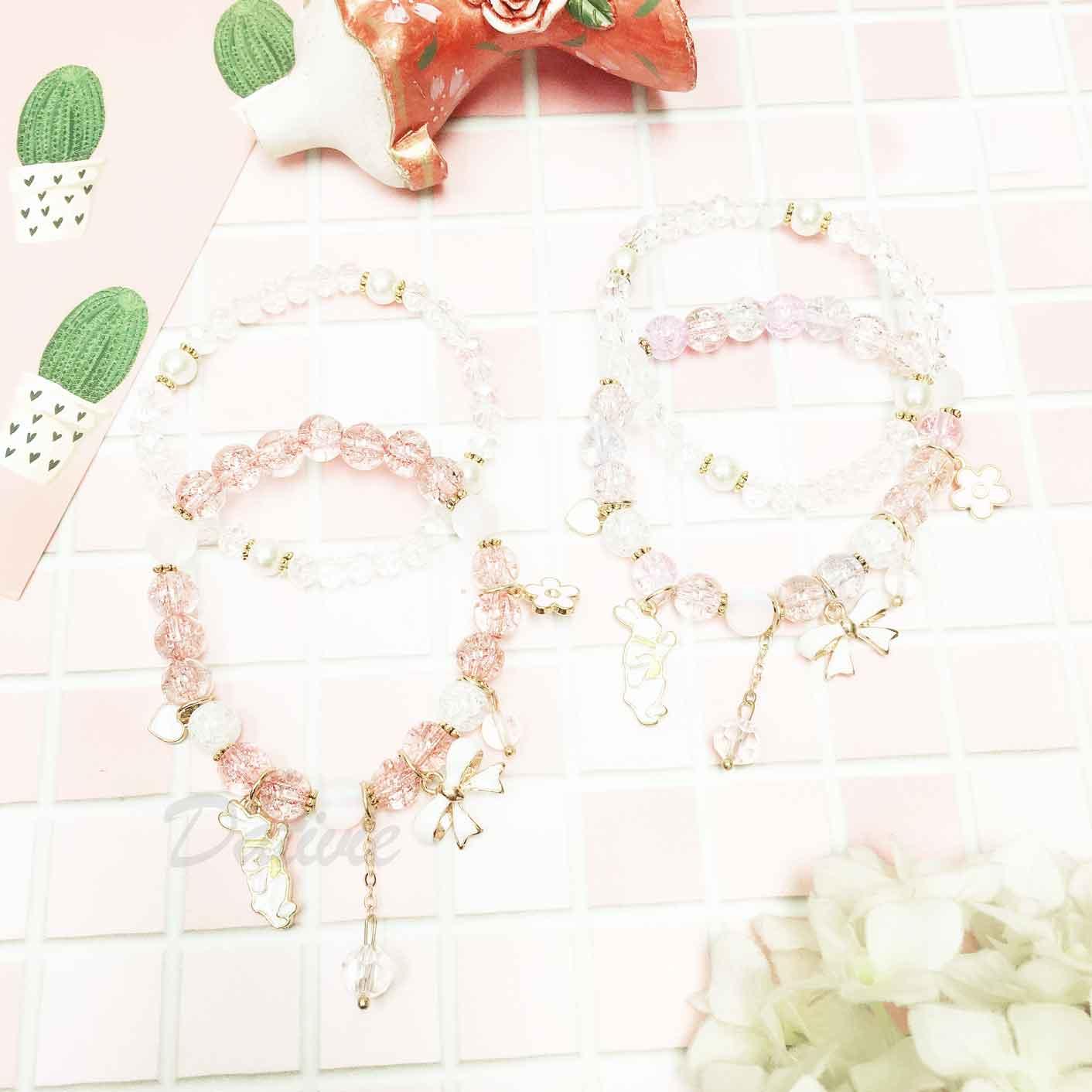 兔子 愛心 蝴蝶結 花 珍珠 串珠 墜飾 兩入組 手飾 手環 手鍊