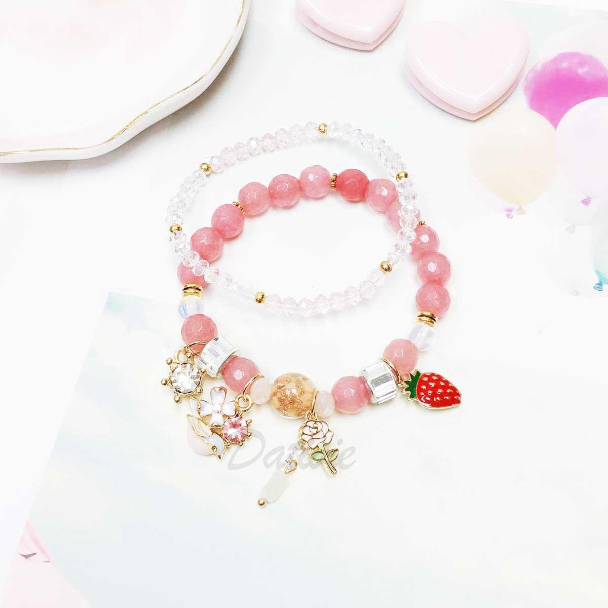 草莓 花 水鑽 鳥 串珠 墜飾 兩入組 手飾 手環 手鍊