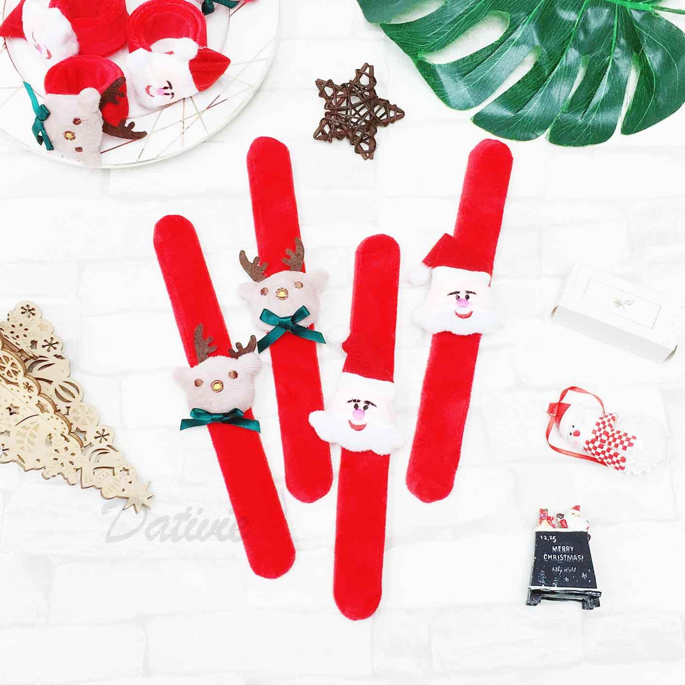 聖誕老公公 聖誕老人 麋鹿 絨毛 耶誕手飾 啪啪手環