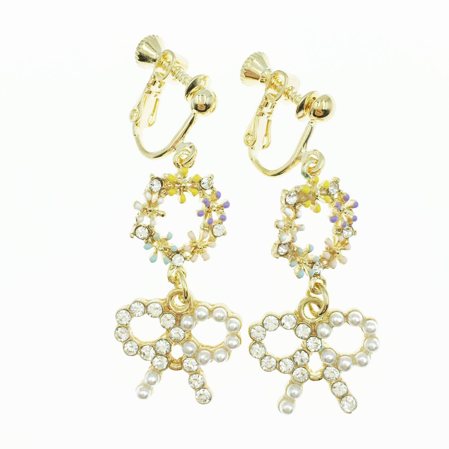 韓國 簍空蝴蝶結 珍珠 水鑽 花圈 甜美款 垂墜感 夾式耳環