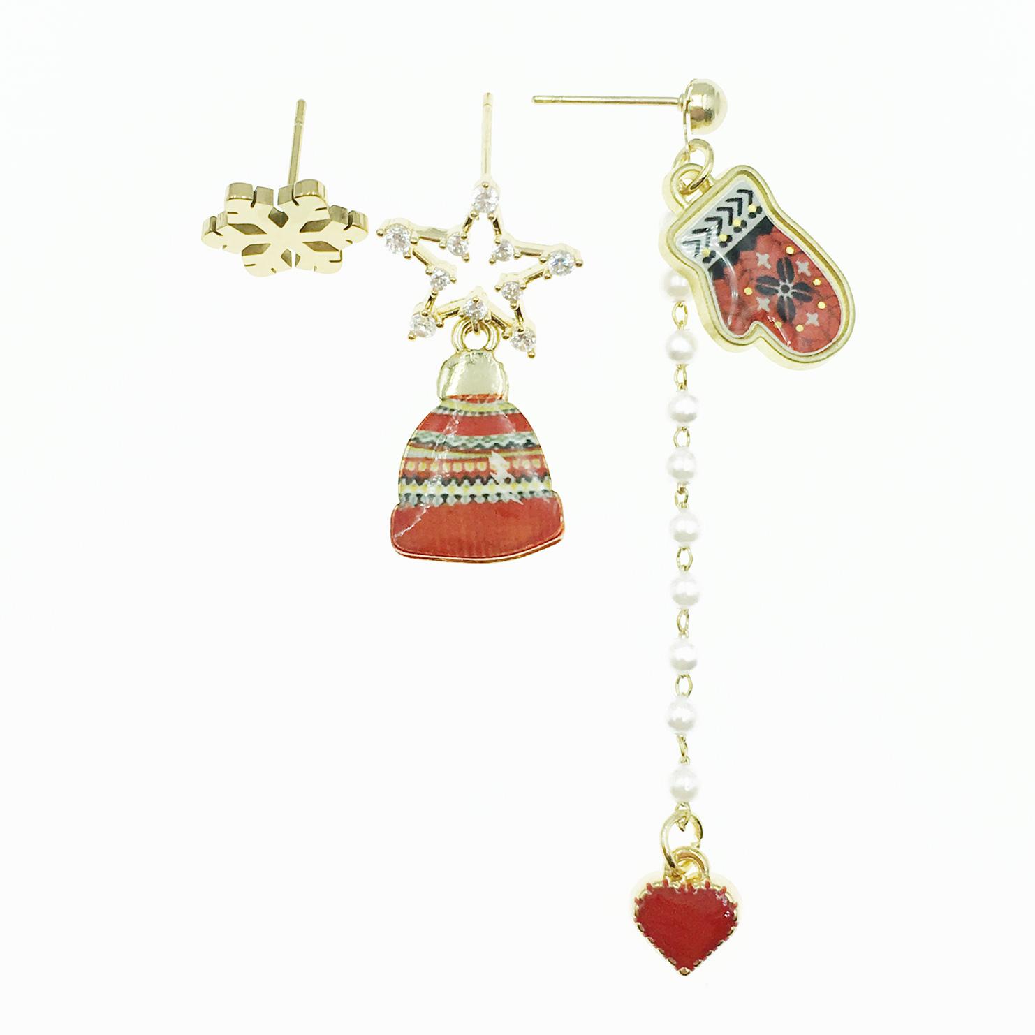 韓國 雪花 手套 簍空星星 水鑽 愛心 珍珠鍊 三入組 垂墜感 耳針式耳環