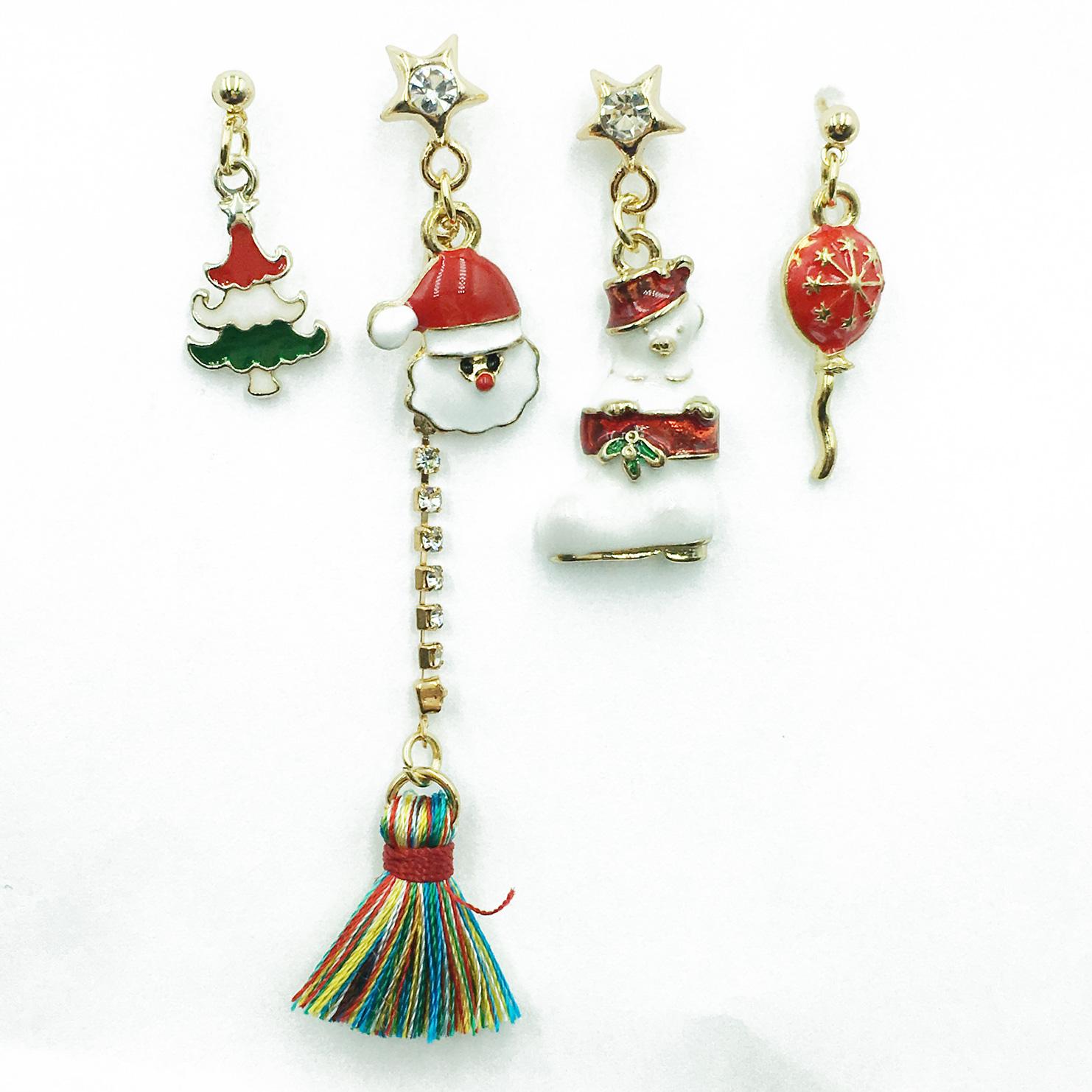 韓國 聖誕老人 聖誕樹 星星 水鑽 彩色流蘇 四入組 垂墜感 耳針式耳環