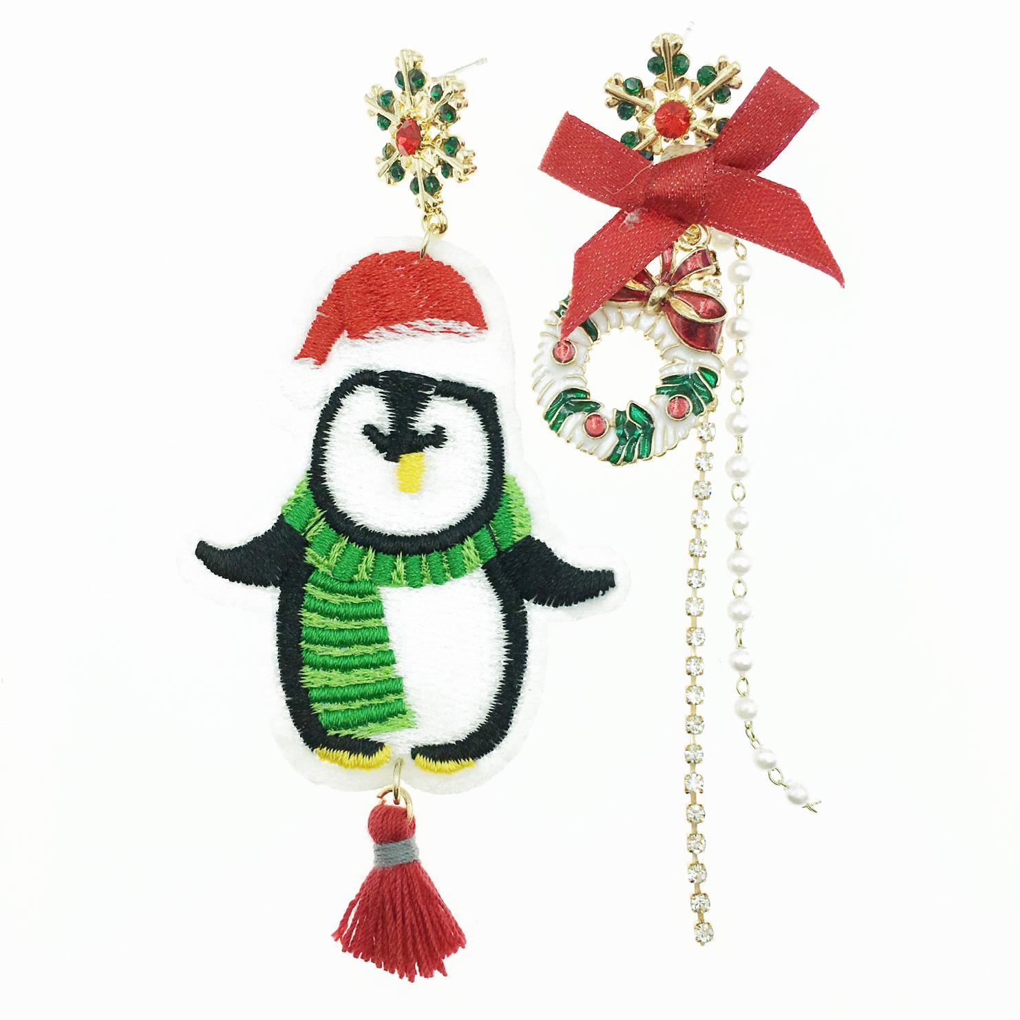 韓國 不對稱 企鵝 蝴蝶結 雪花 花圈 水鑽 珍珠 流蘇 垂墜感 耳針式耳環