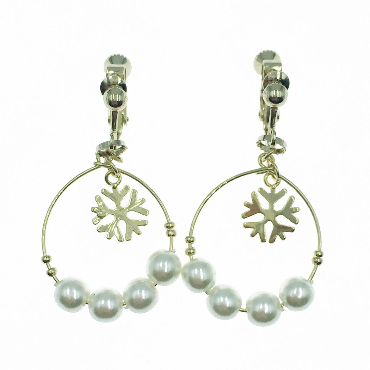 韓國 珍珠 簍空圓 氣質填滿款 垂墜感 夾式耳環