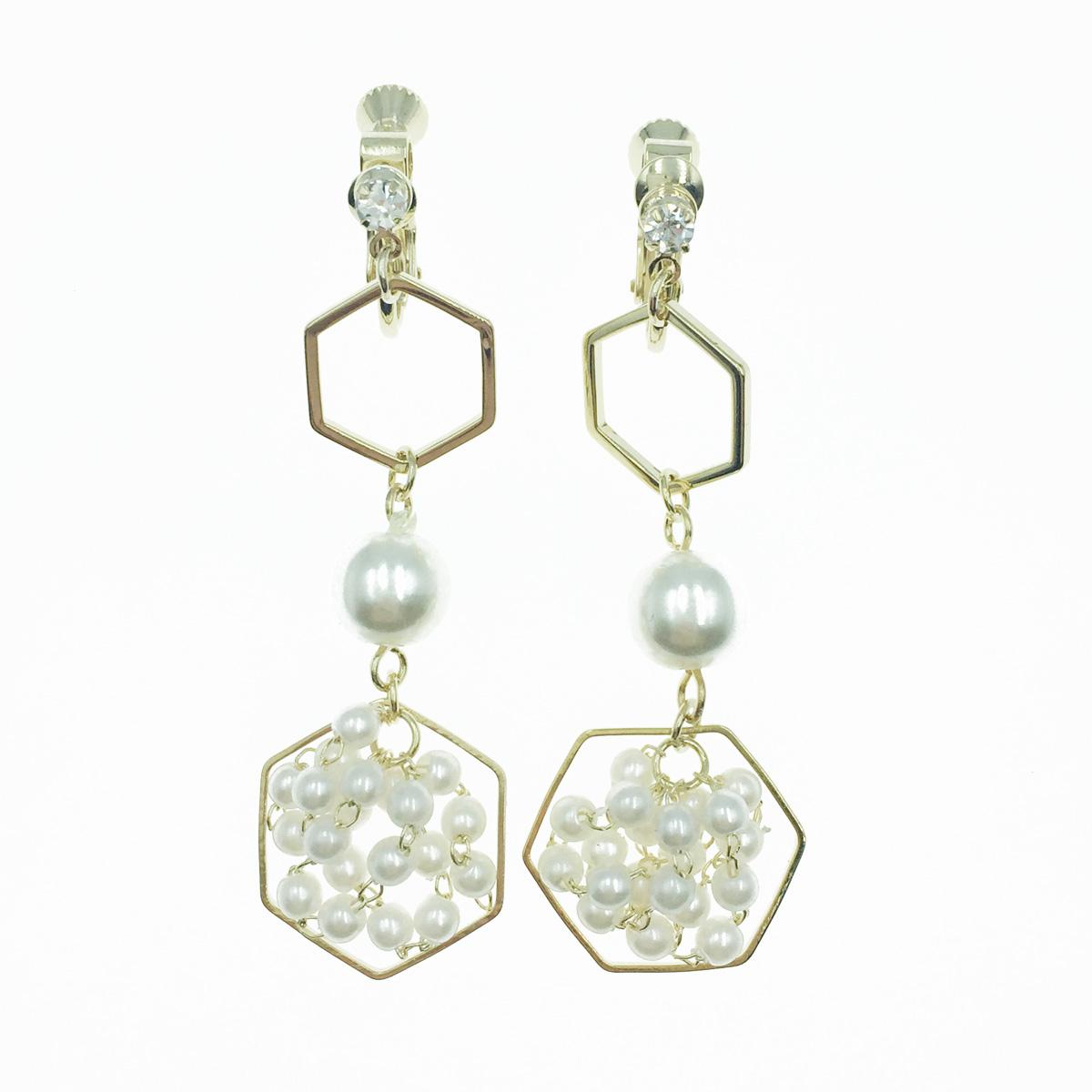 韓國 簍空 五角形 水鑽 珍珠 垂墜感 夾式耳環