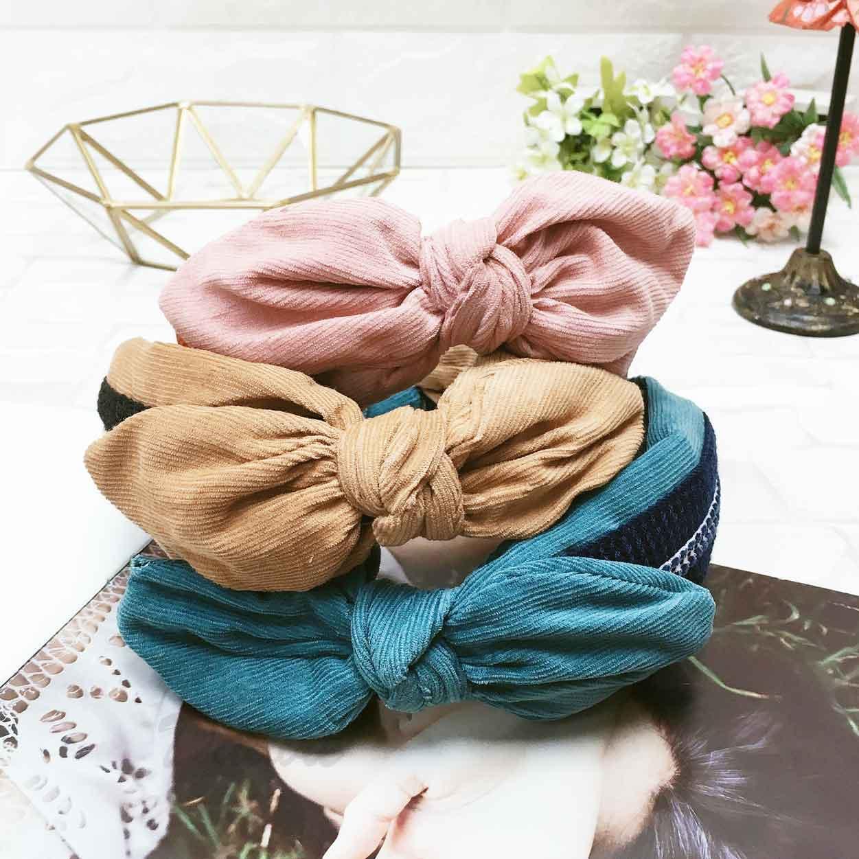 蝴蝶結 編織毛線 撞色 絨布 3色 髮飾 頭箍 髮箍