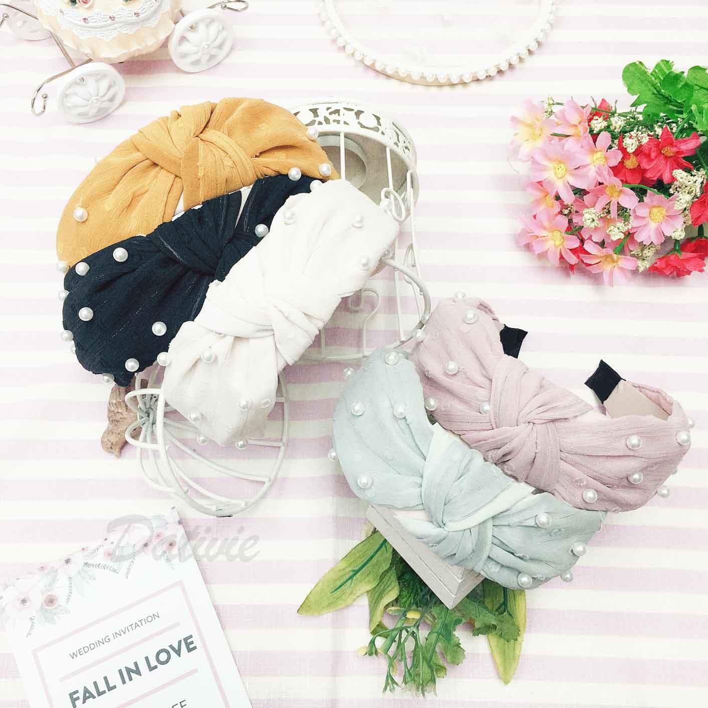 扭結造型 珍珠 素色 網紗 甜美百搭款 5色 髮飾 頭箍 髮箍
