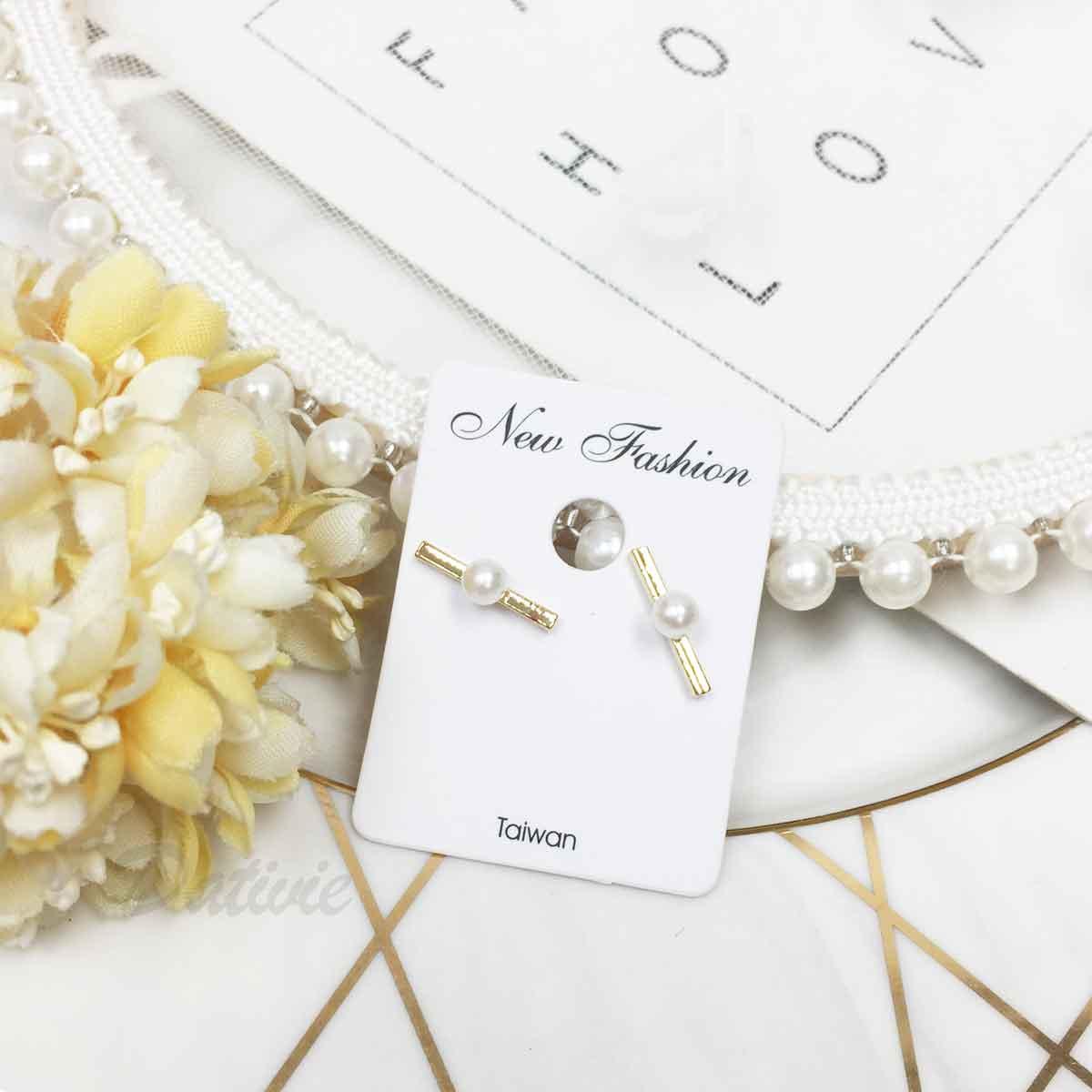 珍珠 金屬條 簡約 氣質甜美款 耳針式耳環