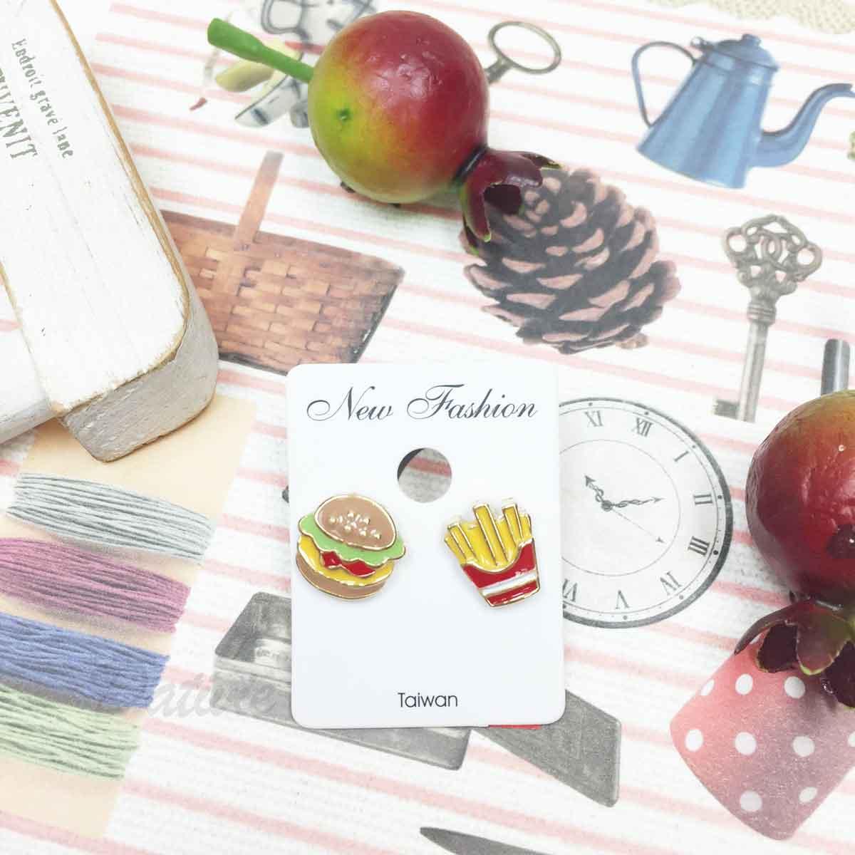 不對稱 薯條 漢堡 食物 可愛趣味風 耳針式耳環