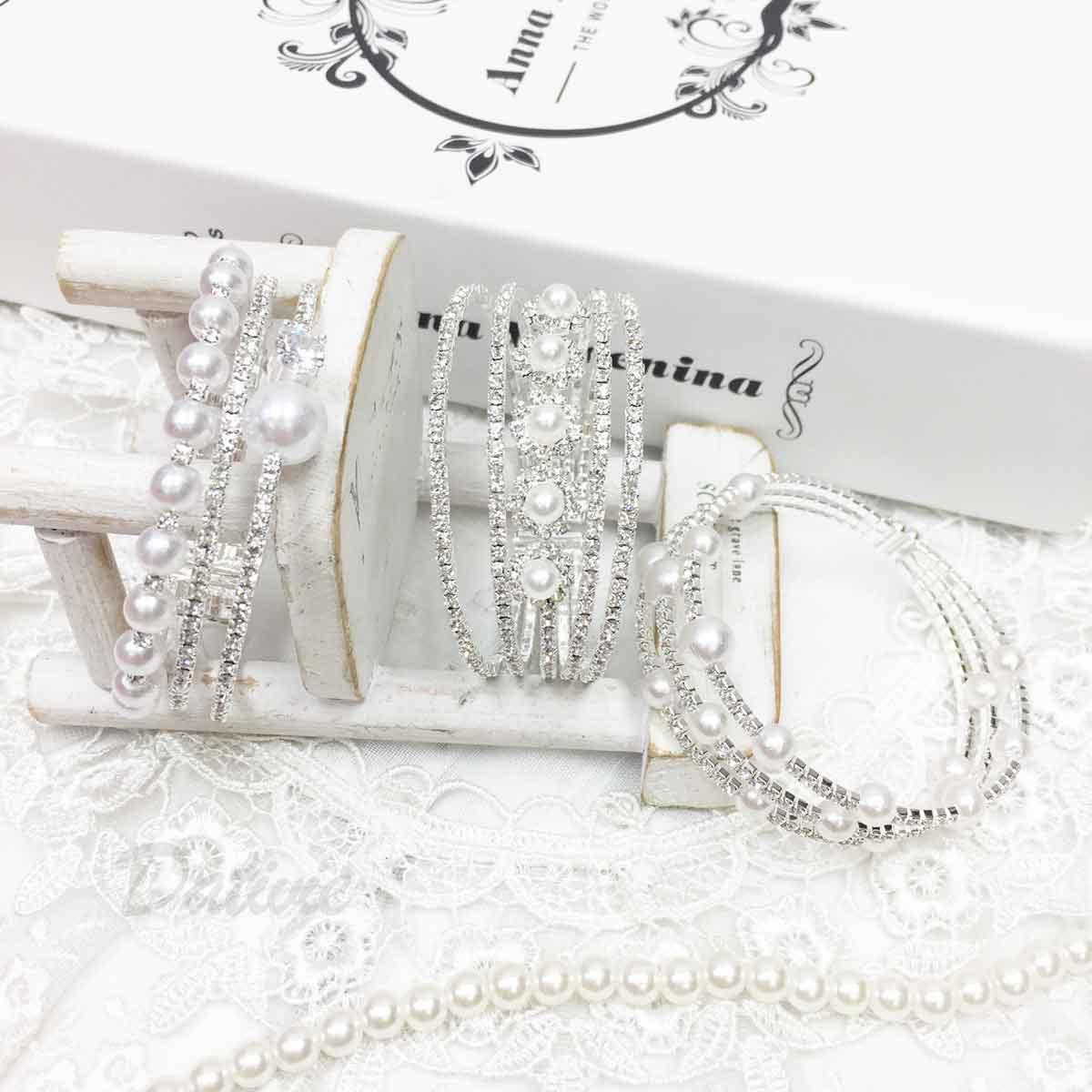 水鑽 珍珠 三環圈 螺旋 質感 手飾 手環