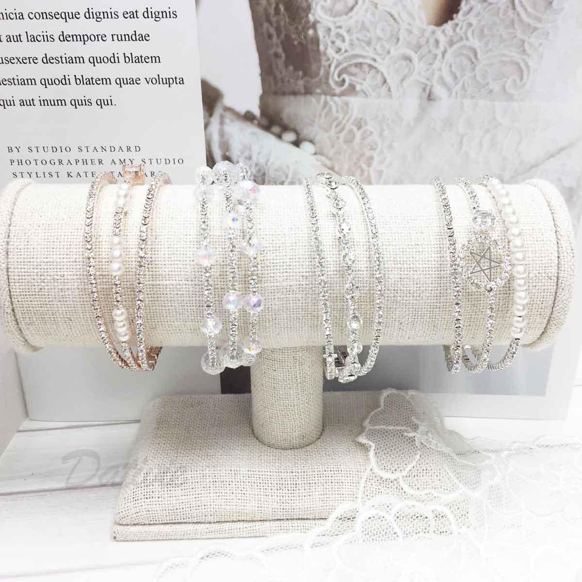 珍珠 水鑽 3環圈 4款 質感 手飾 手環