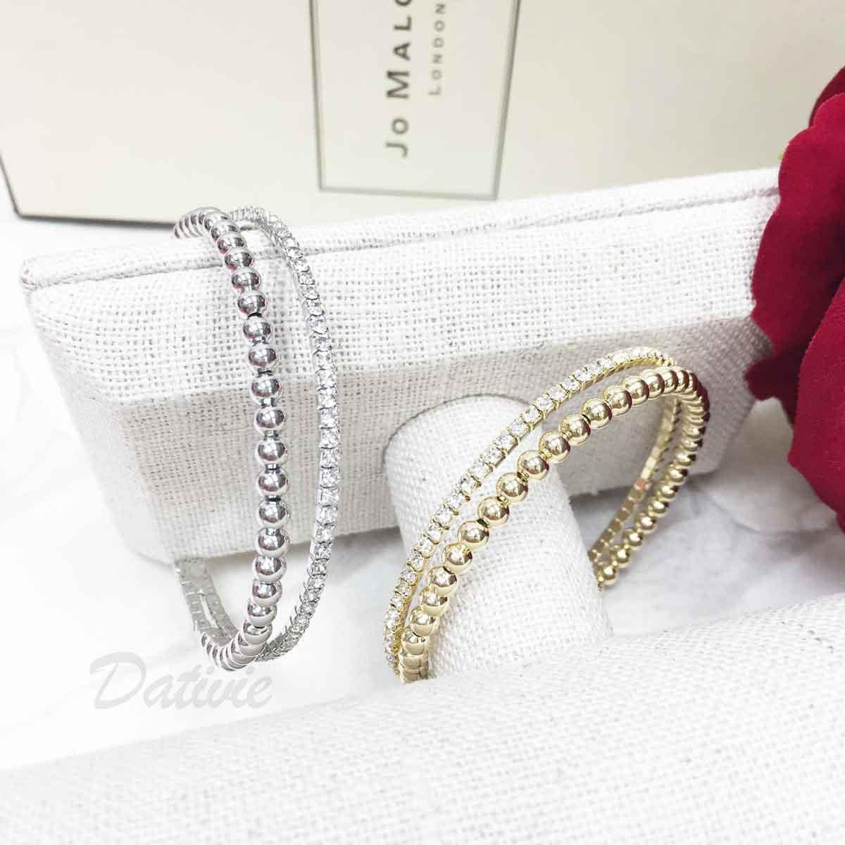 水鑽 金屬珠珠 雙環圈 2色 質感 手飾 手環