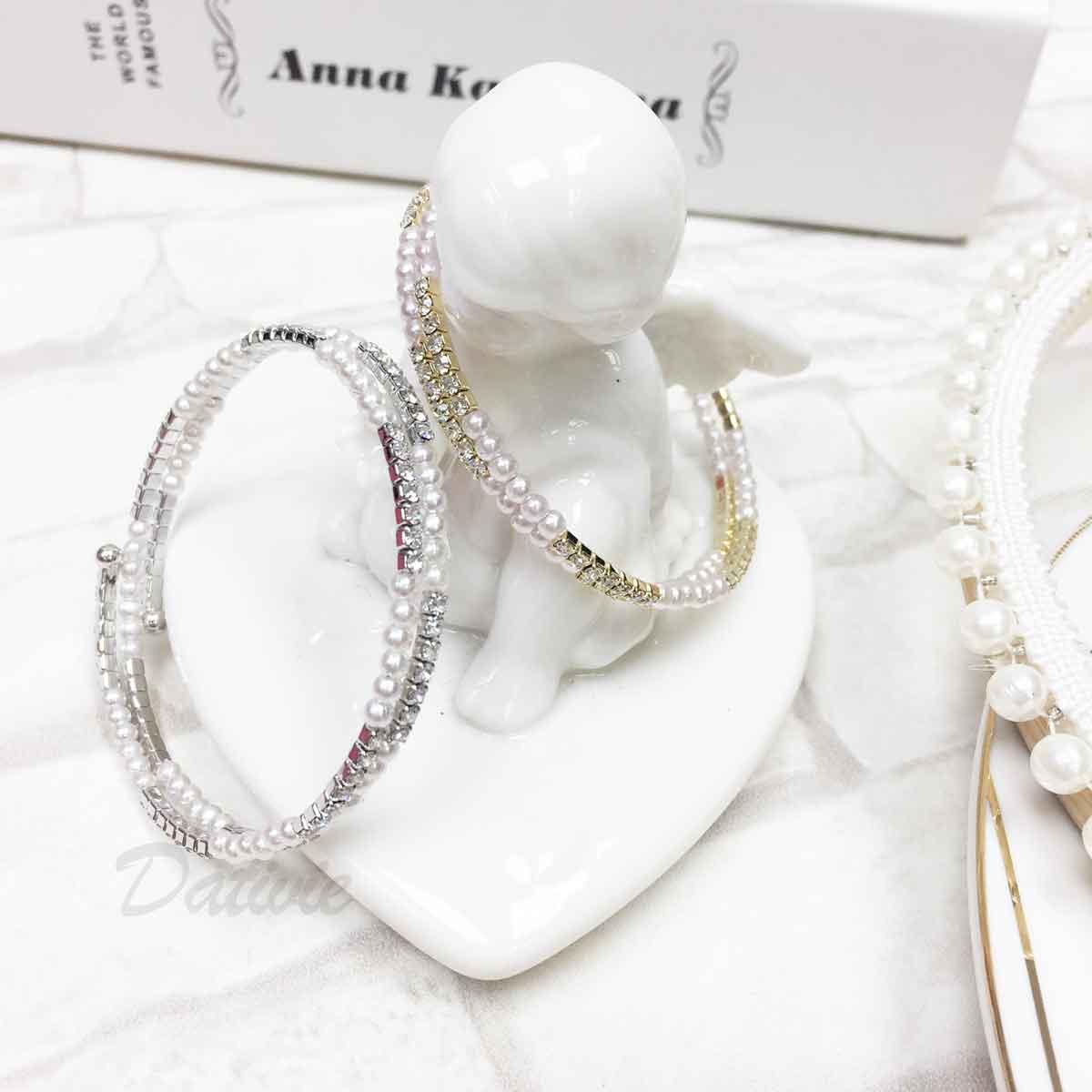 珍珠 水鑽 雙環圈 優雅氣質 2色 質感 手飾 手環