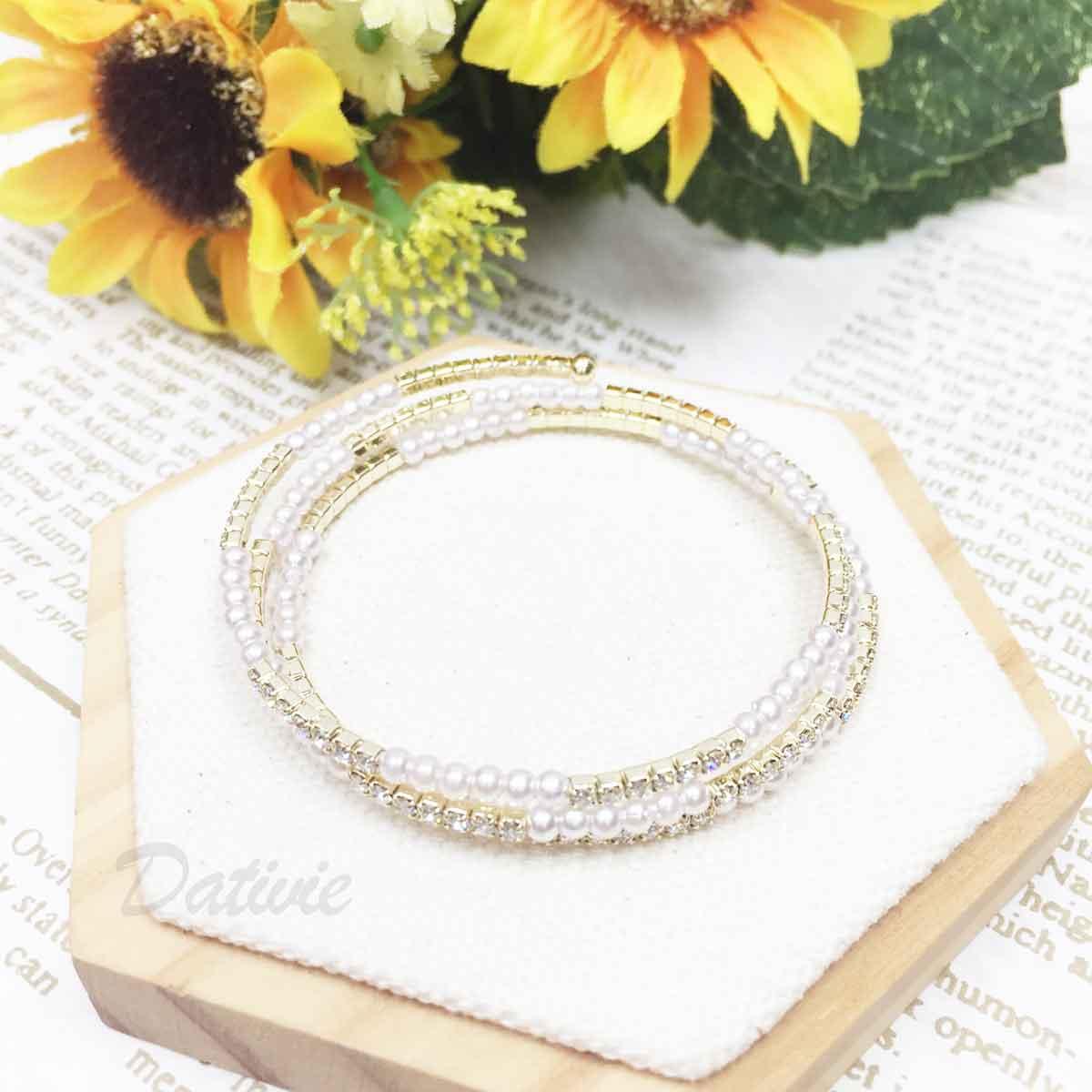 珍珠 水鑽 三環圈 金 質感 手飾 手環