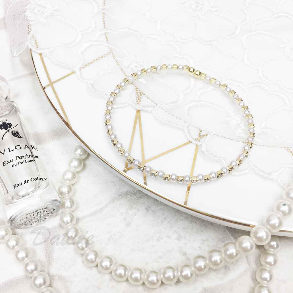 珍珠 水鑽 單圈 金 質感 手飾 手環