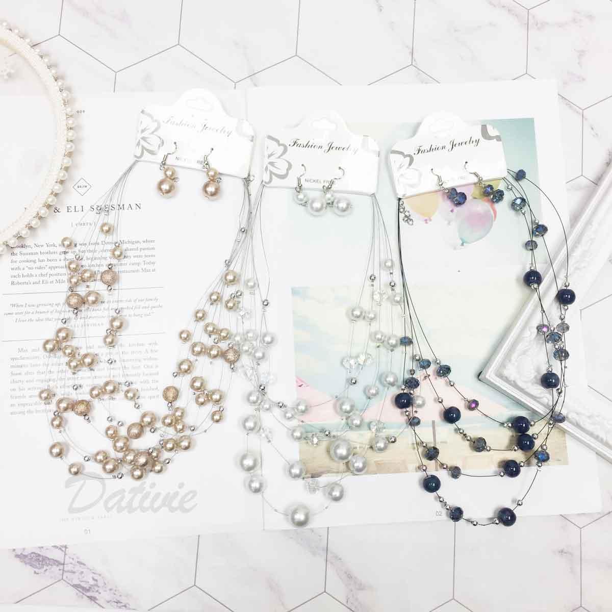 珍珠 小銀珠 透色水晶 多圈 垂墜感耳勾式耳環 項鍊耳環套組