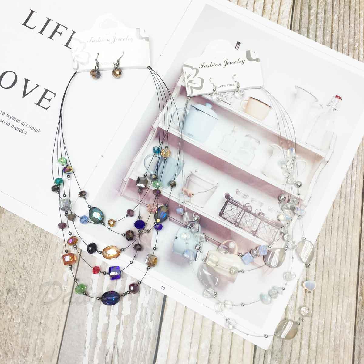透色水晶 繽紛寶石 小銀珠 多圈 垂墜感耳勾式耳環 項鍊耳環套組