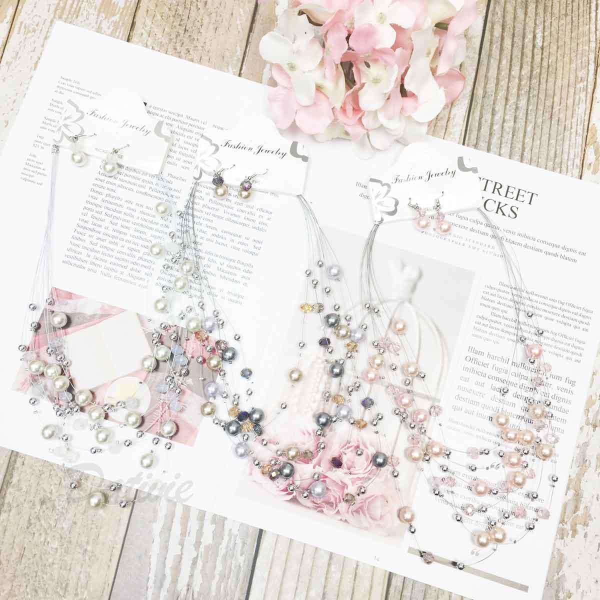 珍珠 小銀珠 透色水晶 寶石 垂墜感耳勾式耳環 項鍊耳環套組