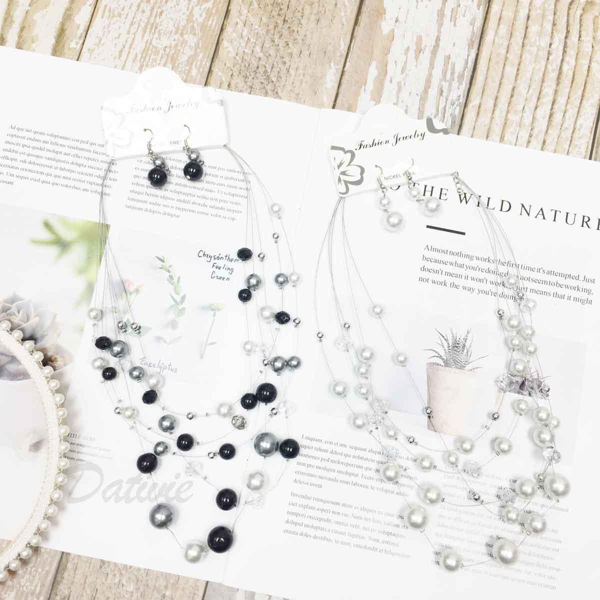 珍珠 小銀珠 透明水晶 多圈 垂墜感耳勾式耳環 項鍊耳環套組