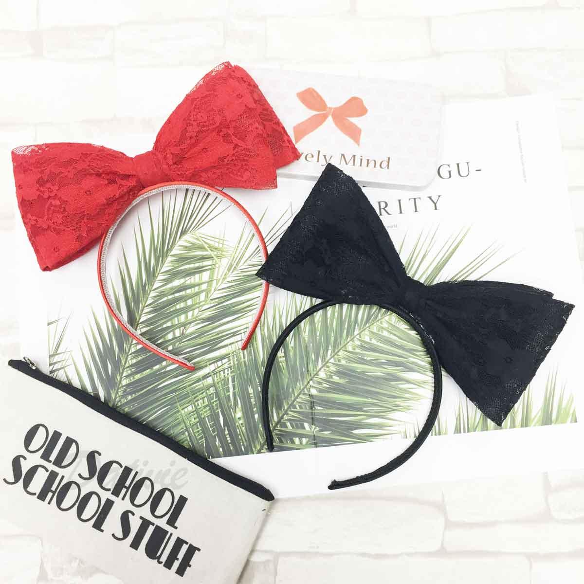 雙層大蝴蝶結 蕾絲 黑色紅色 可愛甜美風 質感 髮箍 頭箍