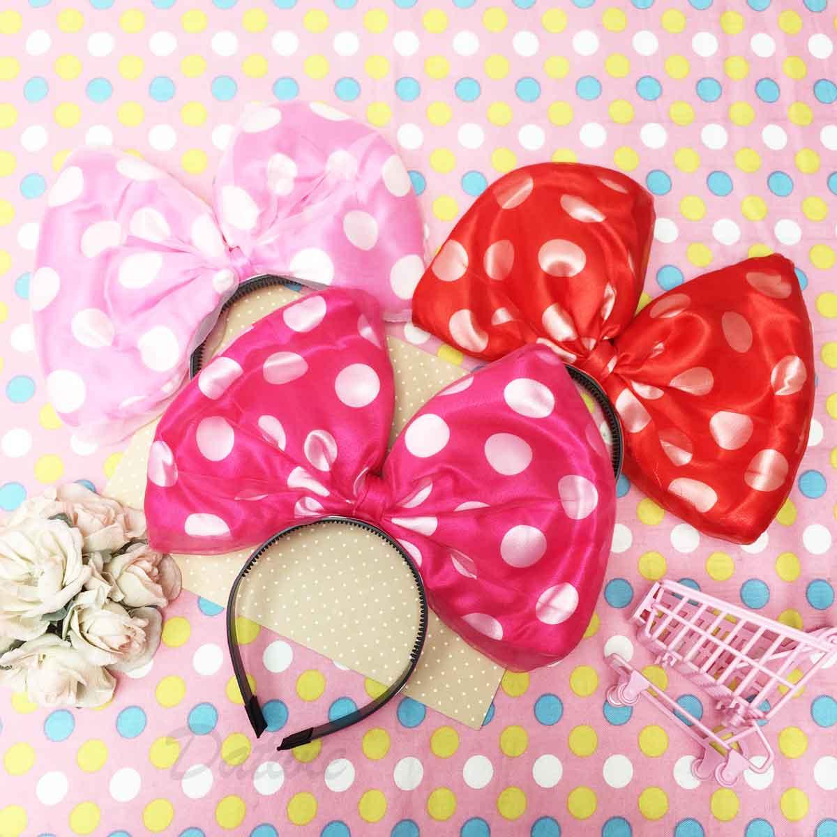 點點 大蝴蝶結 網紗 3色 可愛風 髮飾 髮箍 頭箍