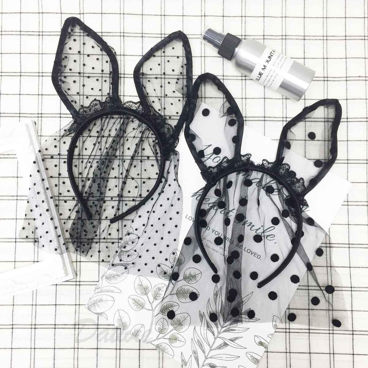 兔子耳造型 網紗蕾絲 黑色 點點 髮飾 髮箍 頭箍