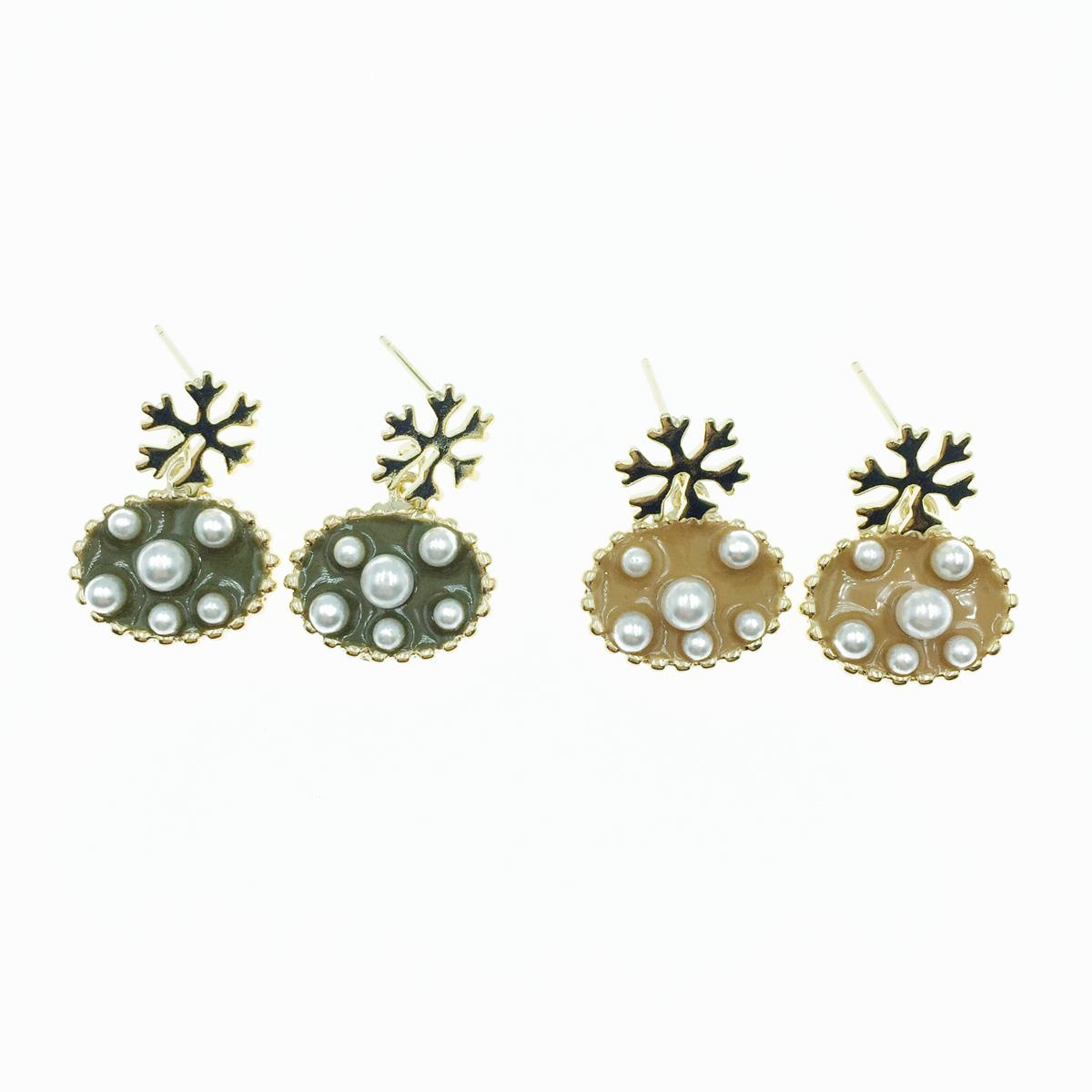 韓國 雪花 珍珠 質感 2色 垂墜感 耳針式耳環
