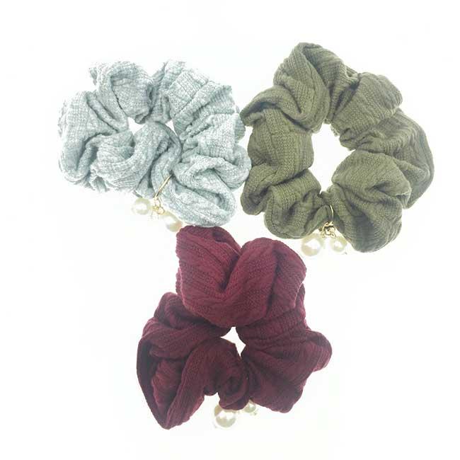 韓國 素面素色 珍珠 墜飾 水鑽 3色 髮飾 髮圈 大腸圈