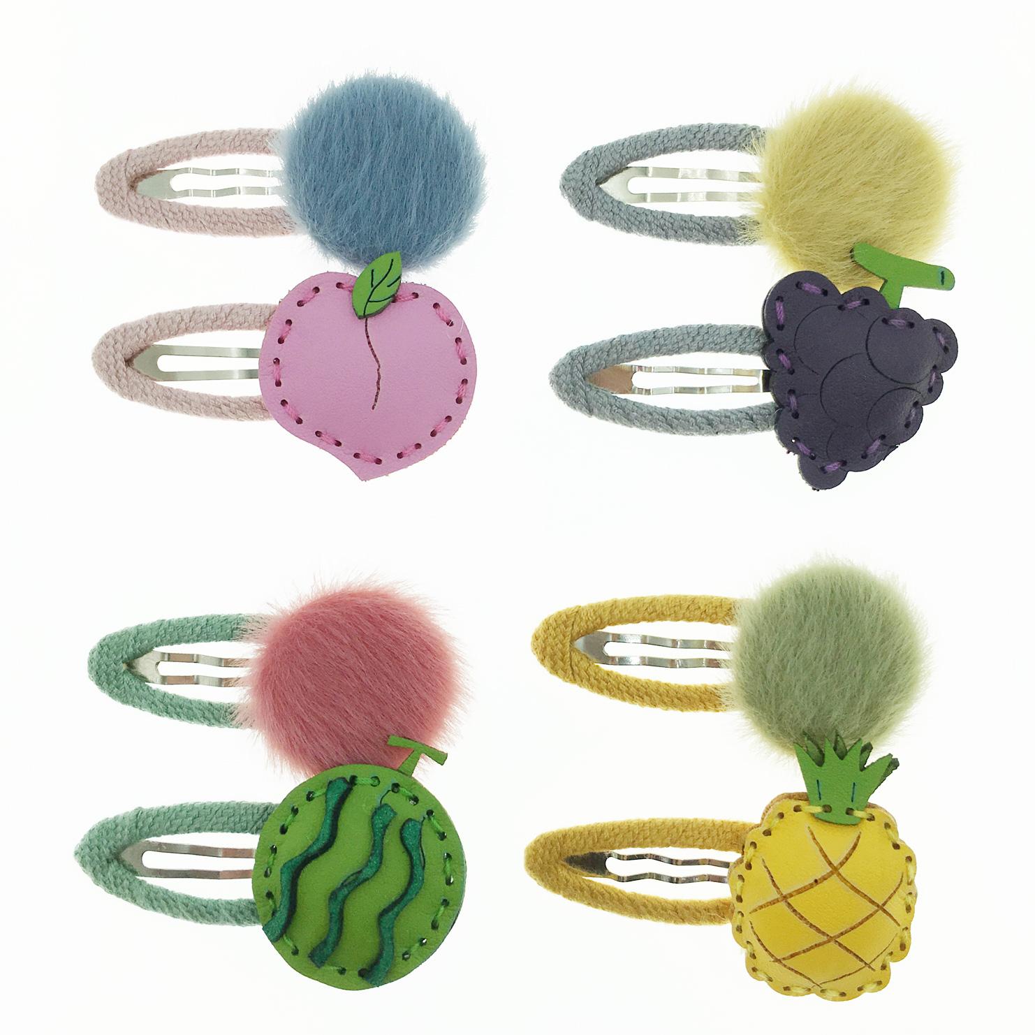 韓國 水果 鳳梨 西瓜 葡萄 蜜桃 兩入組 髮飾 髮夾