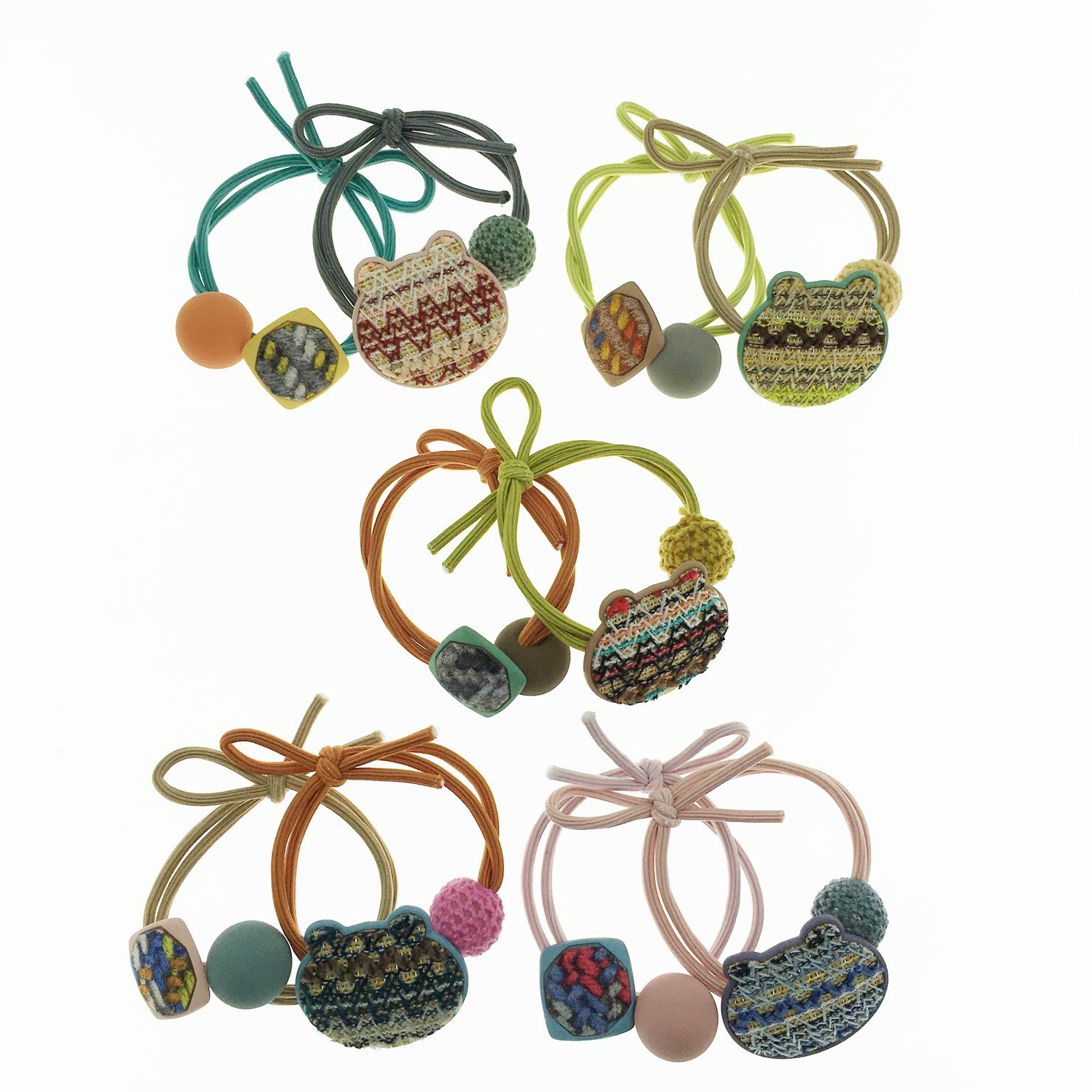 韓國 編織造型 球 繽紛色 兩入組 髮飾 髮圈 髮束