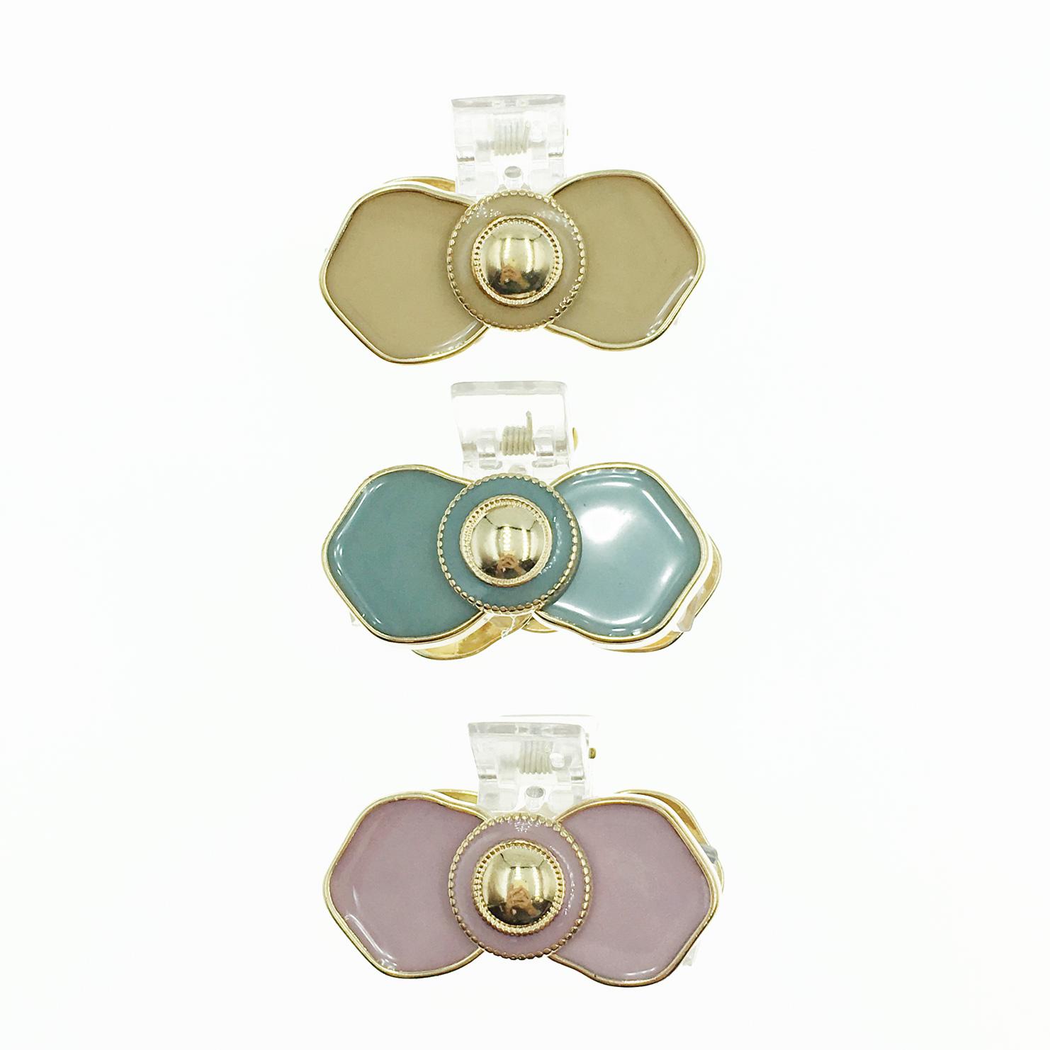 韓國 蝴蝶結 金邊 3色 甜美風 髮飾 抓夾 髮夾
