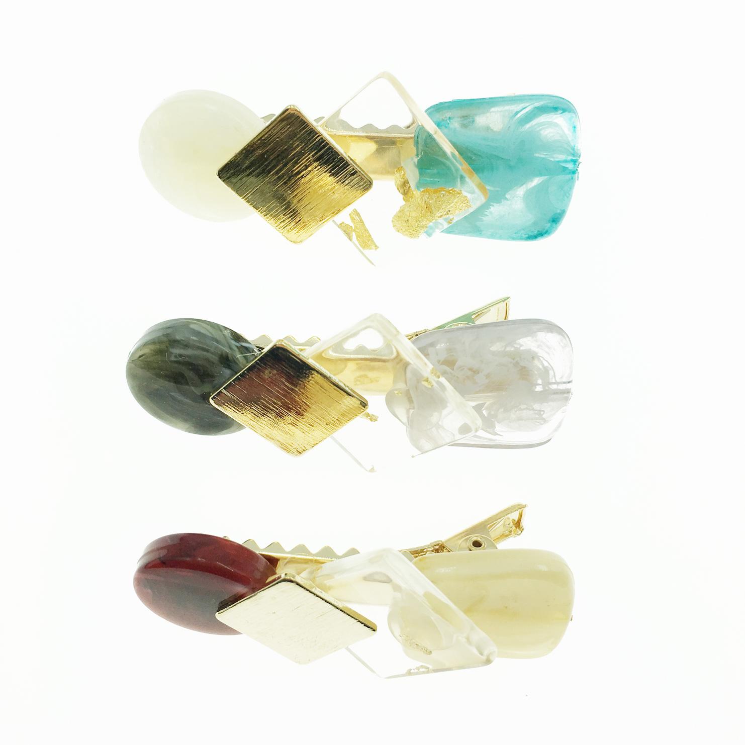 韓國 大理石紋 透明夾金箔 髮飾 壓夾 髮夾