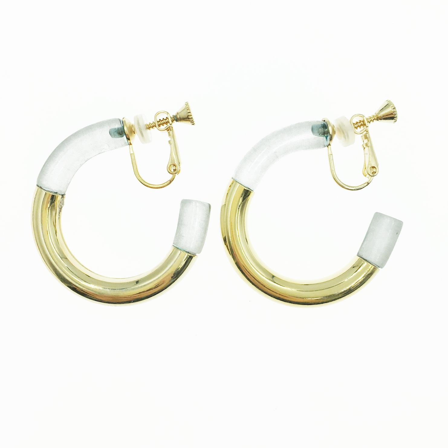 韓國 C環圈 開口半圓 撞色 時尚 耳夾式耳環
