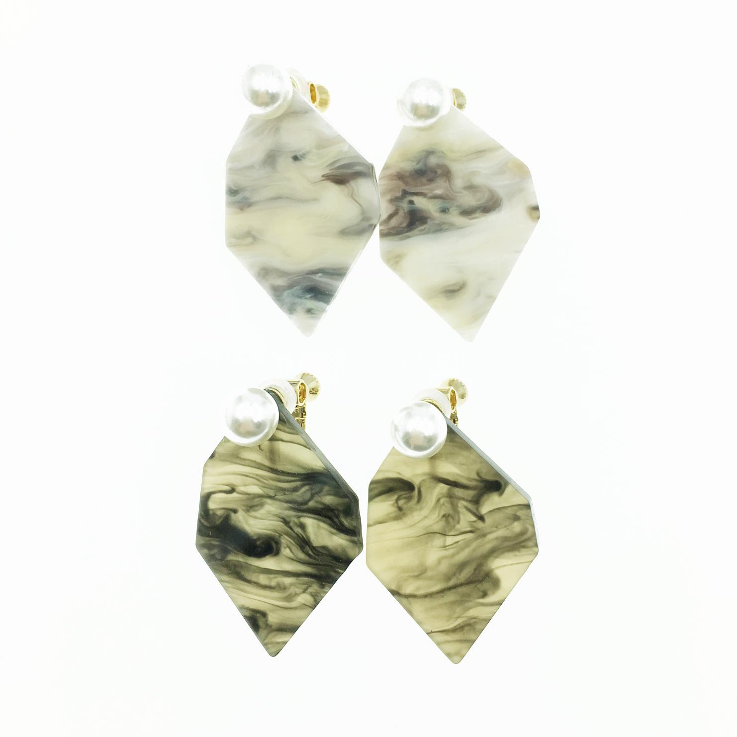 韓國 珍珠 不規則形 大理石 2色 流行時尚 夾式耳環