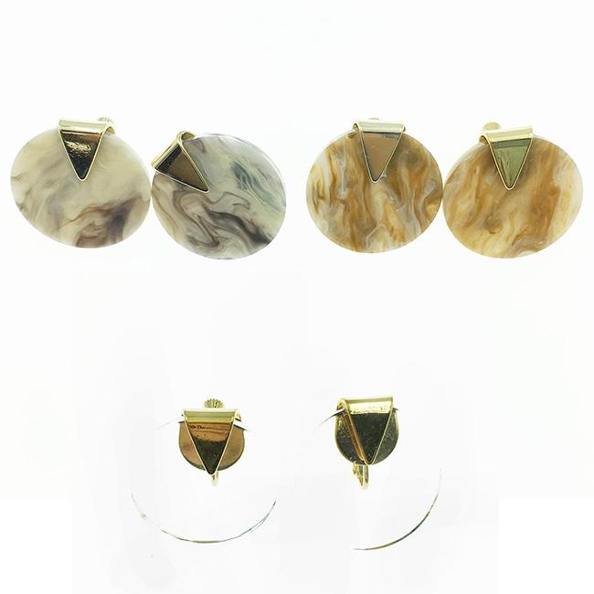 韓國 大理石 圓形 金三角 3款 時尚款 夾式耳環
