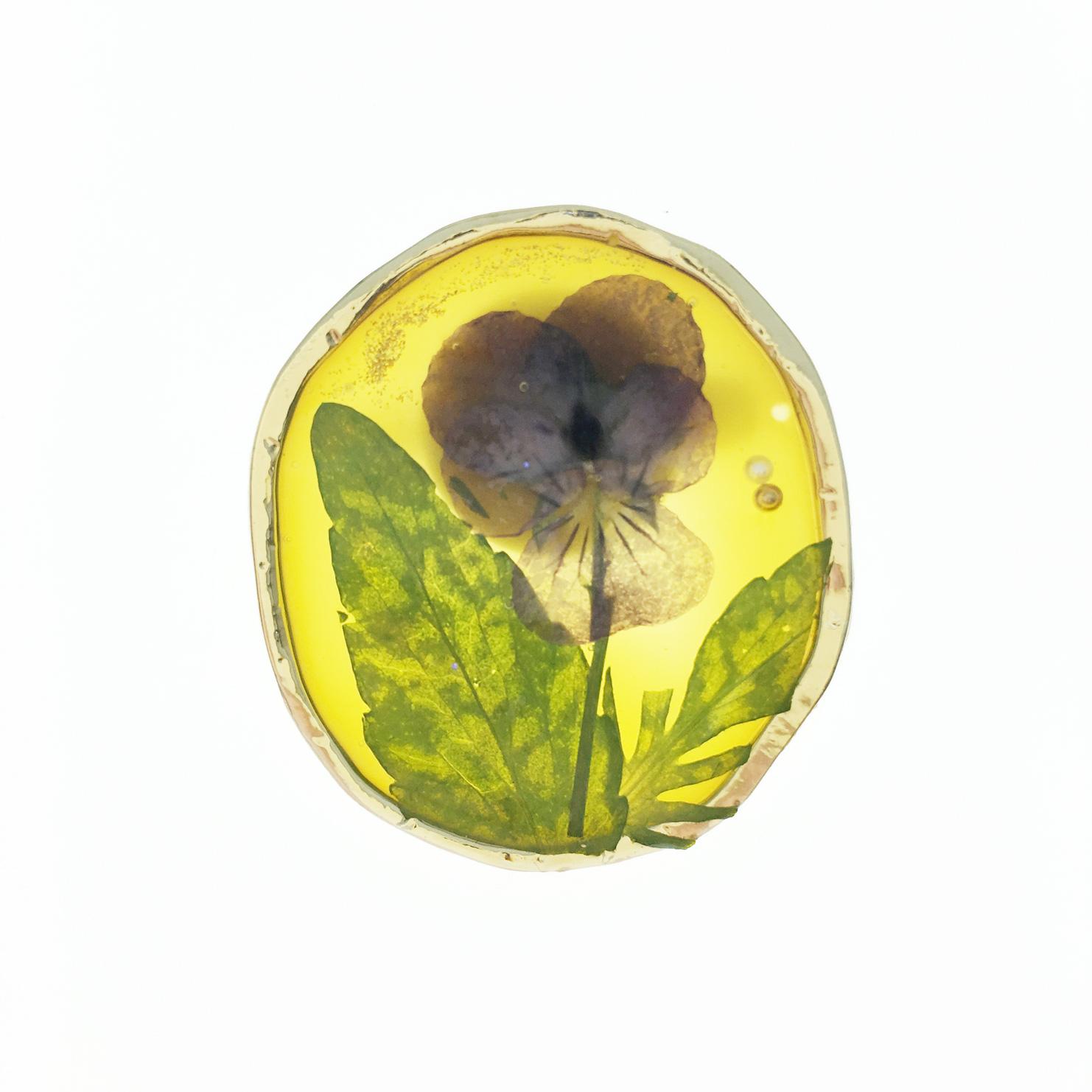 韓國 乾燥花 紫花 黃底 金蔥 胸針 別針