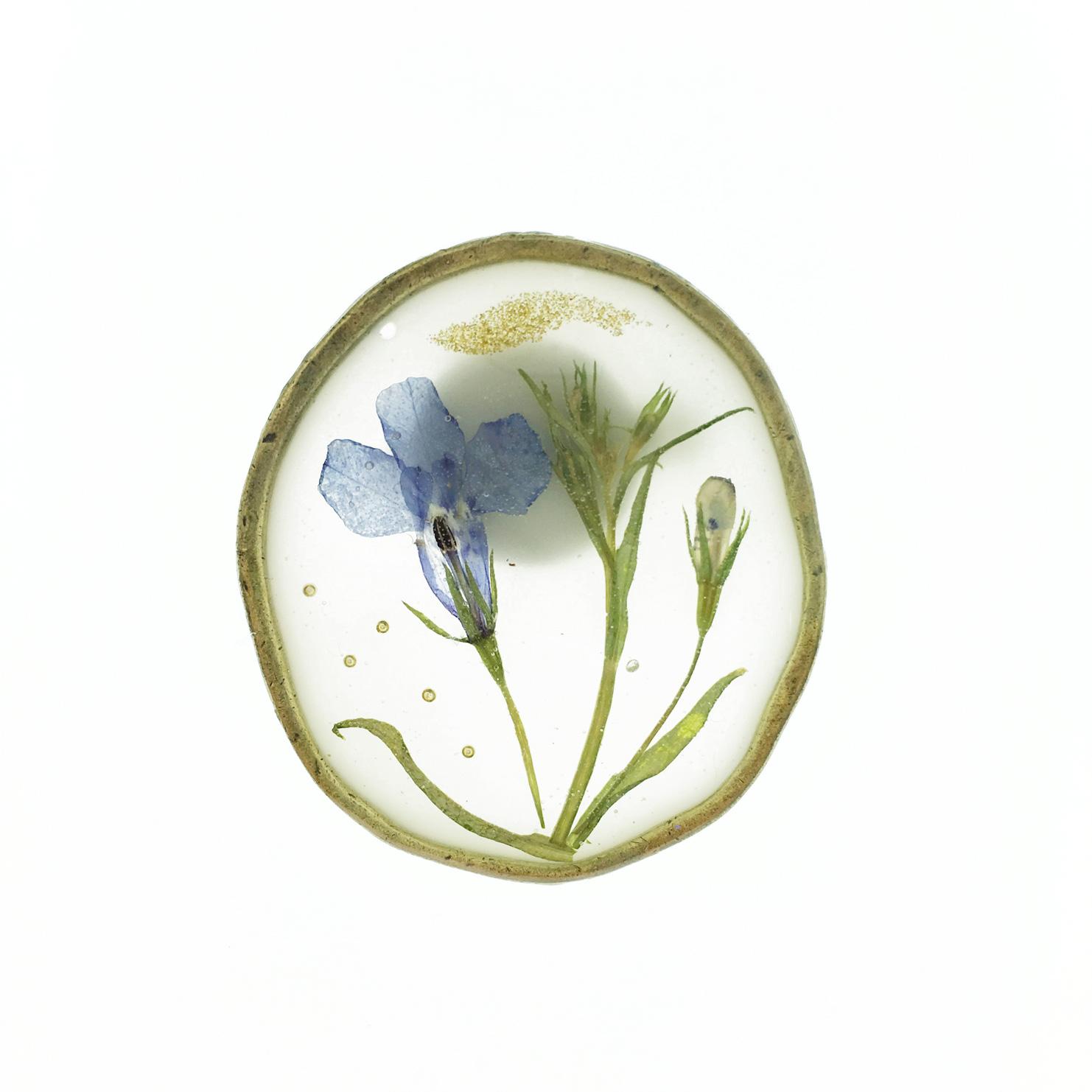 韓國 乾燥花 葉子 藍花 金蔥 胸針 別針